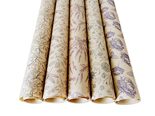 Premium Geschenkpapier Retro Ökologisches Recycling Papier 5 Rollen a` 2m x 70cm Natur Geschenkverpackung für Geburtstag Hochzeit Kraftpapier (Natur)