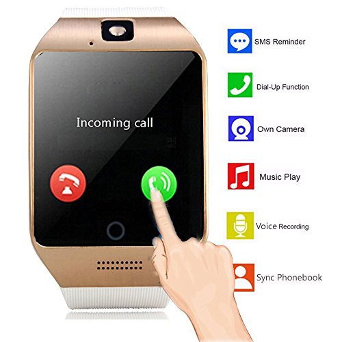 Bluetooth NFC Smart Watch con IPS touch screen orologio cellulare con slot per SIM Card fotocamera per Android uomo donna ragazzi ragazze Samsung S5 S6 S7 Edge S8 Plus note 8 5 4 J1 mini Huawei Motorola LG blu