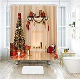 Cinnanal Duschvorhang 3D Motiv Weihnachten Wasserdicht 200x180cm Shower Curtain Pattern Anti-Schimmel Polyestergewebe Weihnachtsdeko Heimzubehör mit Vorhanghaken Khaki Grün 120g