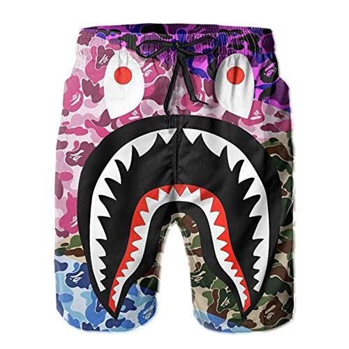 LAOLUCKY Pantalones cortos para hombre con forro de malla para natación, secado rápido, pantalones cortos de playa, blanco, L