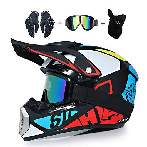 LEENY Motocrosshelme Fullface Kinderhelm Motorrad Off-Road Crosshelme Set mit Handschuhe Maske Brille, Motorradhelm Herren Damen Schutz-Helm Downhill Enduro ATV MTB BMX-Helm,M(54~55cm)