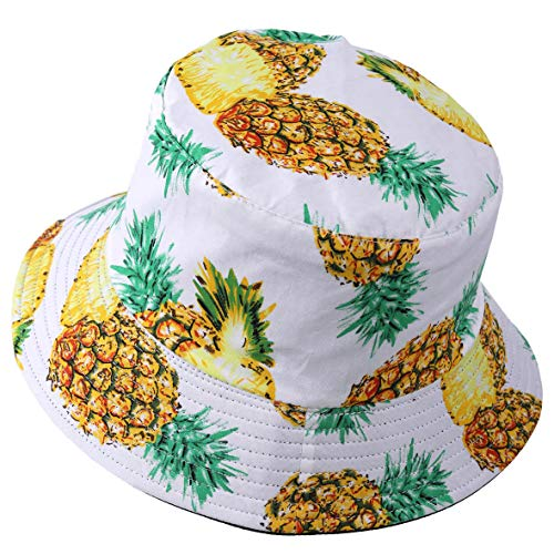 VECRY Uomo Estate Reversibile Pescatore Cappelli - Donne Frutta Stampa Pieghevole Esterno Cappellino (Ananas-Bianca)
