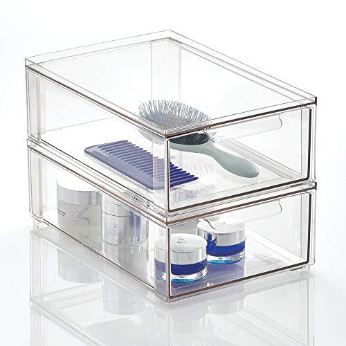 mDesign Organizador de maquillaje para el cuarto de baño – Cajonera apilable hecha de plástico – Práctica caja de almacenamiento para ordenar artículos del baño – Juego de 2 – transparente