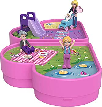 Polly Pocket Polly & Friends Pack Family Picnic Theme Heart-Shaped Case Scenic Backdrop 4 Micro Dolls 10 Accessories Pop & Swap Feature Great Gift for Ages 4 Years Old & Up