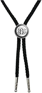 Personalized Custom Western Southwest Cowboy Necktie Bow Bolo Tie - Monogram Fancy Font Scalloped Outline