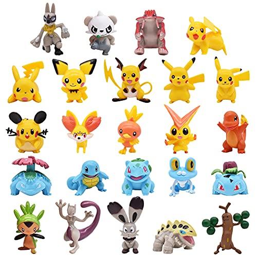 24PCS Pikachu Cake Topper Kit, Toppers Decoración Tarta de Cumpleaños Decoración, Kit de Decoraciones Para Pikachu Cake, Fiesta Temática y Decoración De Pasteles