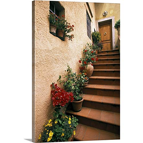 """Tuscan Staircase, Italy Canvas Wall Art Print, 16""""x24""""x1.25"""""""