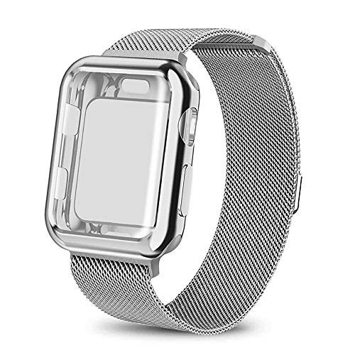 amhello Stainless Steel Magnetic Loop Band with Watch Face Case Compatible with Apple Watch 44 mm All Models, Strap Metal Mesh Wristband Sport fit for Aple Watch 44mm Series SE 5 6 4 3 2 1 Silver