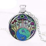 Collar de seta psicodélico con colgante de arte botánico de la naturaleza del bosque, joyería hippie