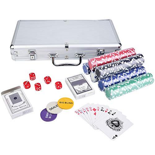OhhGo Conjunto de fichas Texas Tarjetas Poker Dados Decks Set Accesorios para Casino Juego 300pcs