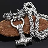 DZXCB Odin Thor's Hammer Metal Wolf Head Necklace,Viking Mjolnir Pendant,Nordic Mythology Men Stainless Steel Pagan Jewelry Amulet,60cm/24inch