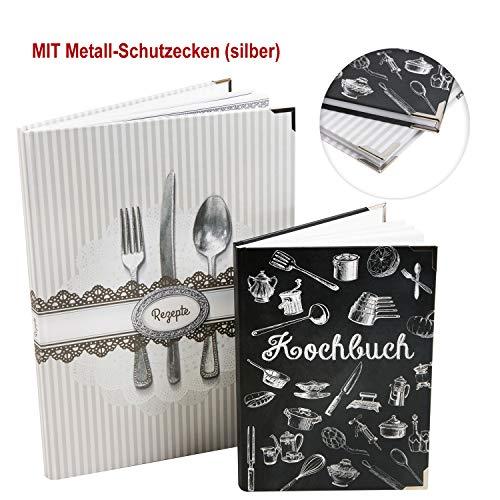 Logbuch-Verlag 2 kookboeken om zelf vorm te geven, DIN A4 + A5, cadeau-idee Kerstmis, Moederdag, verjaardag, DIY receptenboeken