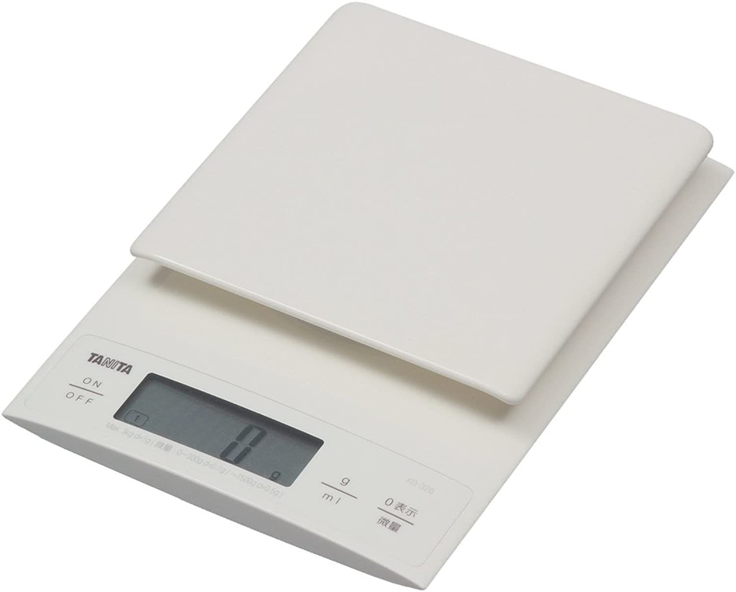 TANITADigital cooking scale【Also useful for making bread0.1g unitHigh accuracyWeighing up to3kg】WhiteKD-320-WH