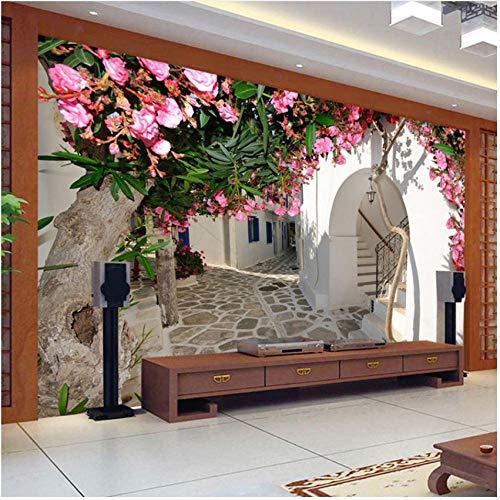 『壁の壁画 3D地中海風ストリートタウン都市景観壁壁画壁紙リビングルームテレビソファ背景壁の装飾-280X200CM』の3枚目の画像