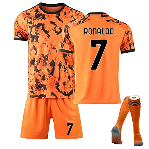 FUNSHE Soccer Jerseys Child Adult Suit Sports Collectible Jerseys,Dybala 10 Ronaldo7 2021 New (Home and Away) Fans Football Clothing Suit Top + Shorts + Socks(White and Ora Orange 7-22