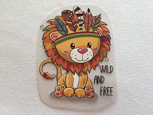 Süßes Bügelmotiv: Löwe als Indianer | 9 x 12 cm groß | Bilder zum schnellen und einfachen Aufbügeln auf Textilien | Aufkleber für T-Shirts und Pullis, Polster, Taschen, Organizer, usw.