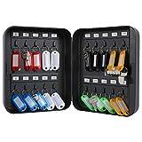 KYODOLED Key Cabinet Wall Mount,Locking Key Organizer,Key Storage Lock Box with Code,Key Management with Combination Lock,20 Key Hooks & Tags Key Lab,7.87 x 6.3 x 3.14 inch,Black