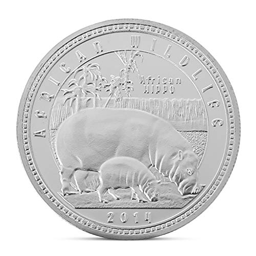 Rongzou Hipopótamo conmemorativo de animales salvajes africanos colección de monedas regalo recuerdo arte metal antiguo small S