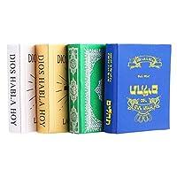 EXCEART 4ピースドールハウスミニチュアミニミニチュア本聖書の寝室の装飾写真の小道具人形の家の装飾(白+青+緑+黄色)