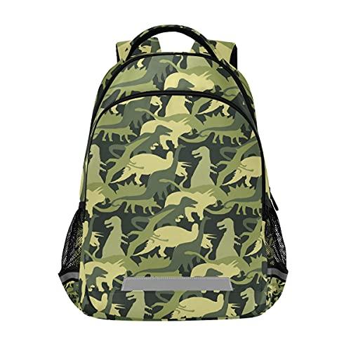 ISAOA - Zaino per bambini con dinosauro, per ragazzi e ragazze, per scuole medie elementari, colore verde militare, con dinosauro, con clip sul petto