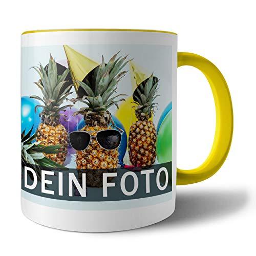 Tasse mit persönlichem Foto und Text zum selbst gestalten (Fototasse, Kaffeebecher mit individuellem Druck, Farbiger Henkel und Trinkrand, mit personalisierbarem Foto, spülmaschinenfest), gelb