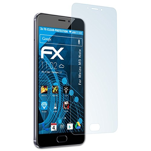 atFolix Schutzfolie kompatibel mit Meizu M5 Note Folie, ultraklare FX Bildschirmschutzfolie (3X)