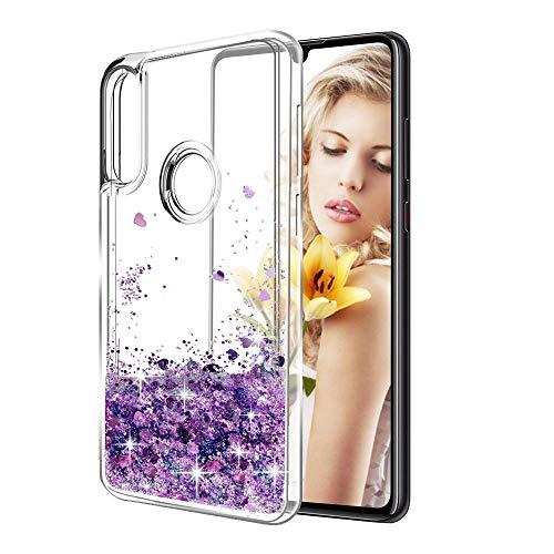 TVVT Glitter Crystal Compatible con Funda Huawei P Smart+ 2019, Brillo Bling Brillante Liquid Sparkly Forma de Corazon Creativo Carcasa Transparente Silicona TPU Bumper - Morado