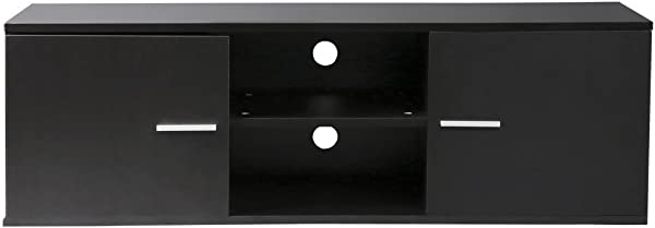 Finefurniture Classic Wood TV Stand For 55 Inch TV With Closets And Open Shelf Black