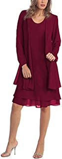 Women's Plus Size Mother of The Bride Dresses with Jacket Knee Length Chiffon Long Sleeve Church Dresses