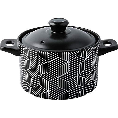 Profesional Seguro Ollas Soperas Multifunción de cerámica plato redondo Negro cazuela olla de barro, de tierra Pot utensilios de cocina de cerámica con tapa a prueba de calor, fácil de limpiar, no olo