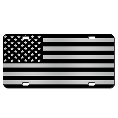 -766 Made of Metal Airstrike Black American Flag License Plate Patriotic Front License Plate Made in USA