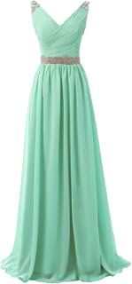 SOLOVEDRESS Women's Cap Sleeves Long Evening Dress Chiffon Beaded Prom Bridesmaid Gown