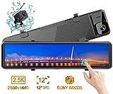 Caméra de Voiture, Dashcam 2,5K Avant Arrière Voiture Rétroviseur Ecran Tactile 12 Pouces 2560P Ultra HD Caméra de Recul Embarquée Conduite Enregistreur Surveillance Stream Media G Capteur DVR