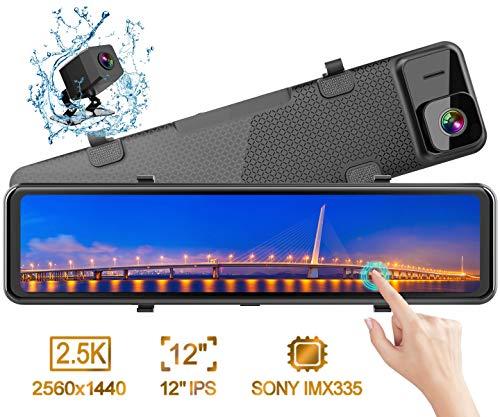 """Rückspiegel Dashcam, WiMiUS 12"""" Rückfahrkamera Streamen Medien Autokamera, 2,5K Ultra HD IPS Touchscreen Parkhilfe, 2560P 1080P Dual Vorne Hinten, mit 320° Weitwinkel Nachtsicht Loop-Aufnahme G-Sensor"""