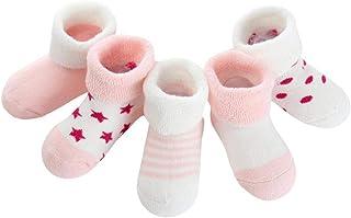 5pairs Calientes De Los Calcetines Suaves del Bebé Recién Nacido del Tobillo Calcetines Gruesos Calcetines De Algodón para Bebé Exquisitos para El Otoño E Invierno Rosado De La Estrella (de 0 a 6