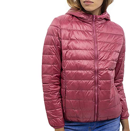 DASTI Ultra Light Down Hooded Packable Jacket for Women Lightweight Short DownCoat (Orange, XXL)