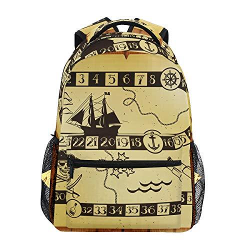 Mochila para portátil de moda, mochila náutica pirata, brújula de viaje, para...