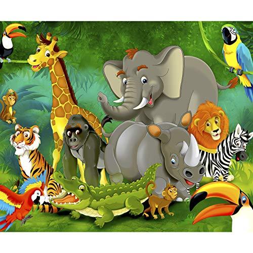 decomonkey Fototapete selbstklebend Kinderzimmer Tiere 294x210 cm XXL Selbstklebende Tapeten Wand Fototapeten Tapete Wandtapete klebend Klebefolie Kinder Dschungel Elefant