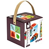 Janod - Piramide quadrata le 4 stagioni, cubi da impilare, giocattolo di manipolazione, per bambini da 1 anno in su, J02917