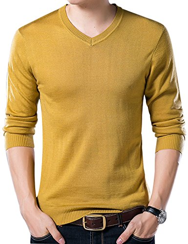 Yeokou Men's Casual Slim V Neck Winter Wool Cashmere Pullover Jumper Sweater,Yellow,Small