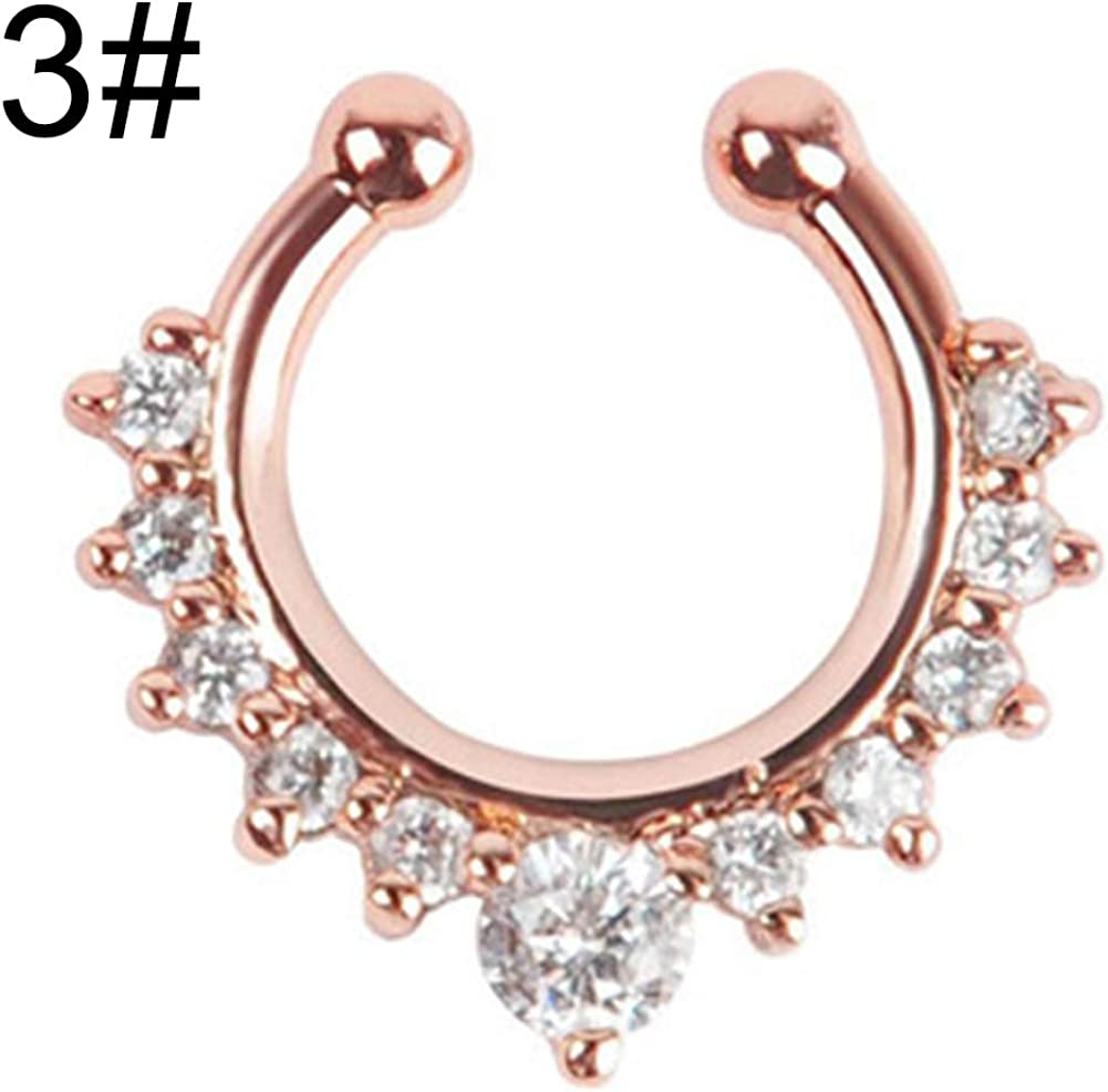 Gsdviyh36 Body Piercing Jewelry,Fashion Women Rhinestone Inlaid Nose Ring Clip Hoop Piercing Body Jewelries Perfect a Jewelry Gift Nose Ear Lip Belly Button Decor