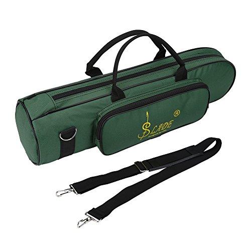 Trompet tas, Oxford doek stootvast trompet tas met schouderriem en handgreep (groen)