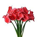 StarLifey 20 piezas Calla Lily Ramo de flores nupcial Flores artificiales, adecuadas para ramos de novia, hechas de látex se siente real (rojo)