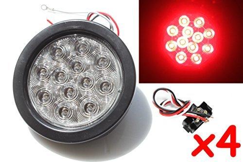 4 Red 4 Round LED Brake/Stop/Turn/Tail Light Kit with Grommet Plug Clear Lens KL-25108C-RK
