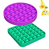 Push Pop Bubble Sensory Fidget Toy,Silicone Stress Anxiety Relief Reliever Toy,Squeeze Extrusion Sensory Toy Game for Kids Adults Autism Special Needs (Square Green+Circle Purple)