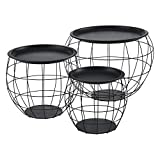 Set de 3X Cestas de Metal con bandejas extraíbles Mesa Baja Mesa Auxiliar para Almacenar Mesas de té y café Mesas de Centro (Negro)
