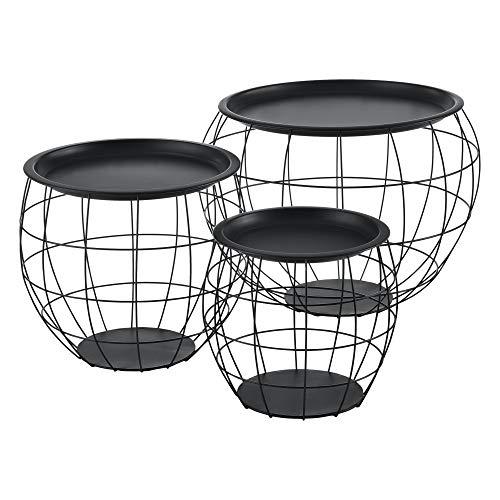 [en.casa] Beistelltisch 3er Set Couchtisch in 3 Größen Sofatisch aus Metall Kaffetisch mit abnehmbaren Metalldeckeln Tablettisch Wohnzimmertisch mit Stauraum Metallkörbe Schwarz