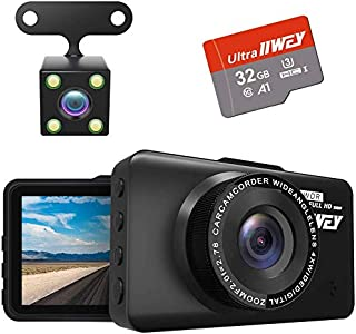 Car Camera Dash Cam Front and Rear, 1080P FHD DVR Car Driving Recorder SD card Included, 3 Inch LCD Screen Dash Cam for Cars with Night Vision 170° Wide Angle Motion Detection Parking Monitor G-Sensor,