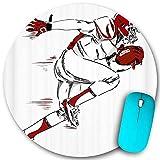 Rundes Mauspad, American Football Sports Theme Männlicher Athlet mit Helm und Handschuhen, der einen Fußball-Laufskizzenstil hält, rutschfeste Gummibasis Home-Mauspads Größe 7,9 \u0026 rdquo; 7,9 \u00
