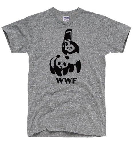DIRTYRAGZ Men's WWF Funny Panda Bear Wrestling T Shirt M Heather Grey